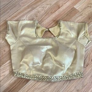 Golden blouse for saree or chaniya choli